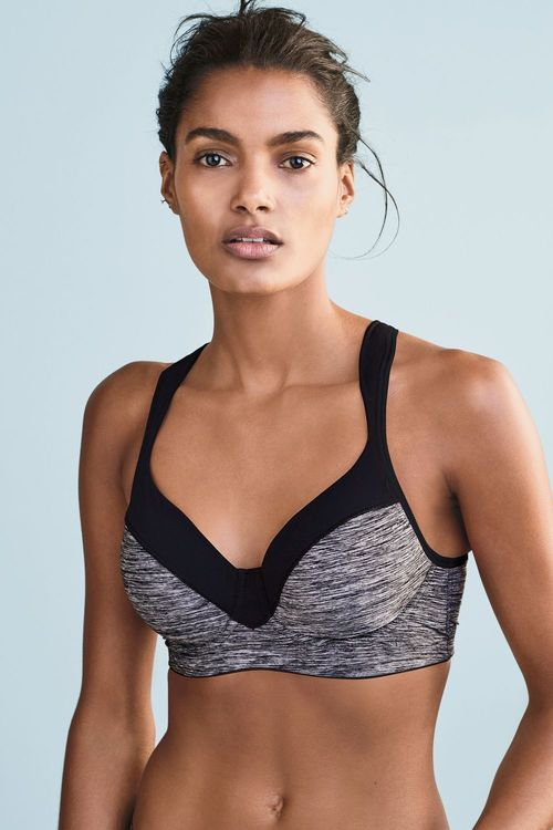 Next Grey Marl High Impact Padded Underwired Sports Bra
