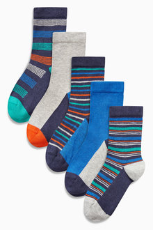 Next Multi Bright Stripe Socks Five Pack (Older Boys)
