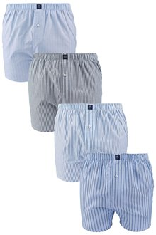 Next Blue Stripe Woven Boxers Four Pack