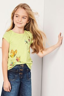 Next Lime Butterfly Print T-Shirt (4-16yrs)