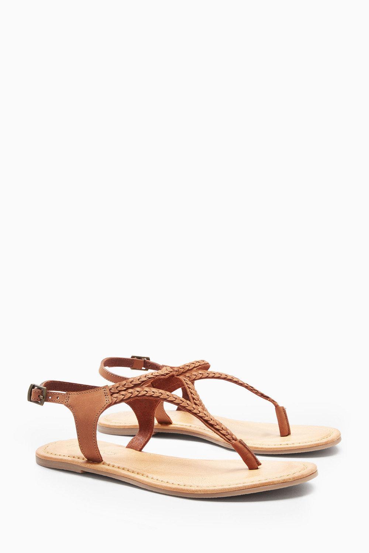 2a54e7379dab25 Next Leather Plait Toe Thong Sandals Online