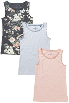 Next Pink/Blue/Charcoal Lace Trim Vest Three Pack (3-16yrs)