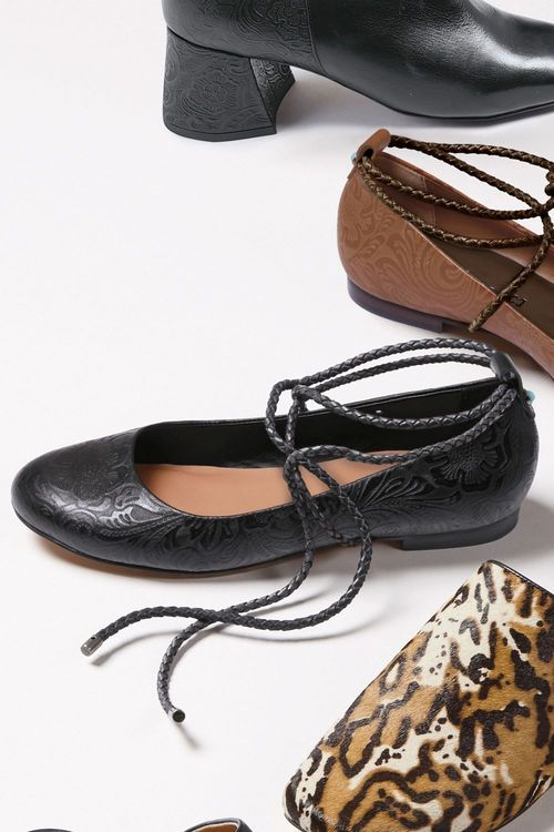 Next Embossed Leather Wrap Ballerinas