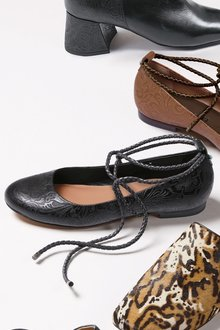 Next Embossed Leather Wrap Ballerinas - 173990