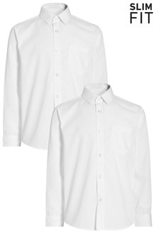 Next Long Sleeve Shirts Two Pack (3-16yrs) - Slim Fit