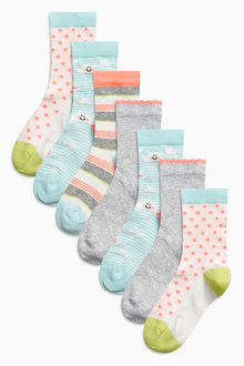 Next Bright Pattern Socks Seven Pack (Older Girls)