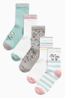 Next Multi Unicorn Socks Five Pack (Older Girls)