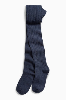 Next Navy Cable Knit Tights (3-16yrs)