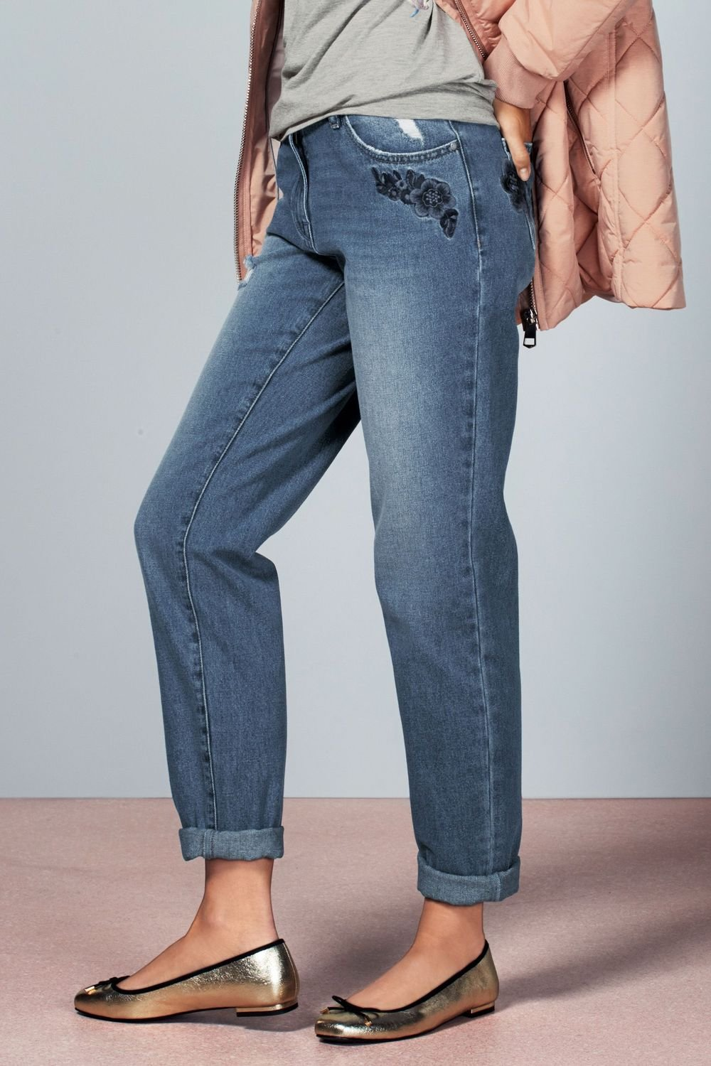 Next Embroidered Flower Relaxed Jeans - Petite Online | Shop EziBuy
