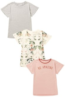 Next Pink/Floral/Grey Short Sleeve T-Shirt Three Pack (3-16yrs)