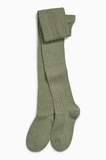 Next Khaki Cable Knit Tights (3-16yrs)