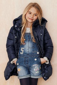 Next Denim Badge Dungarees (4-16yrs)