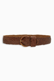 Next Tan Leather Weave Belt