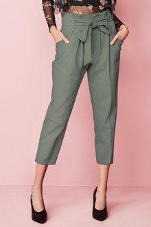Next Green Paper Bag Tie Waist Taper Trousers - Tall