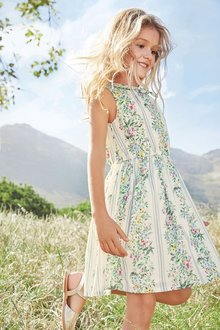 Next White Printed Shirt Waister Dress (3-16yrs)