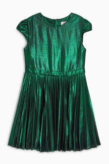 Next Green Foil Pleated Dress (3-16yrs)