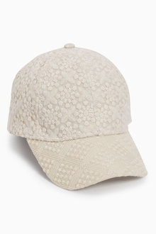 Next Cream Broderie Cap (Older Girls)