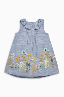 Next Blue Embroidered Dress (3mths-6yrs)