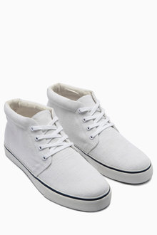 Next White Canvas Mid Boot