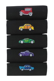 Next Black Cars Embroidery Socks Five Pack