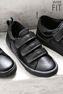 Next Black Triple Strap Shoes (Older Boys) - Wide Fit
