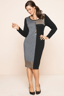 Plus Size - Sara Knit Colour Block Dress