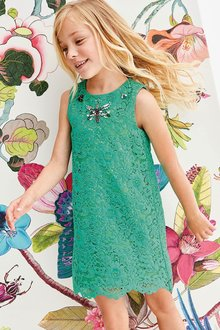 Next Green Lace Dress (3-16yrs)