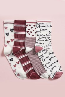 Next Pink Valentine Ankle Socks Four Pack