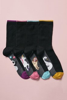 Next Black Giant Character Footbed Ankle Socks Four Pack
