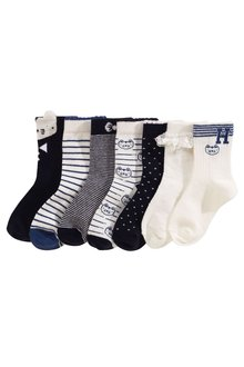 Next Navy Cat Socks Seven Pack (Younger Girls)