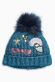 Next Denim Blue Badged Beanie Hat (Younger Girls)