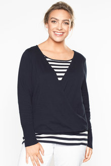 Plus Size - Sara Striped Two In One Jumper