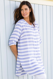 Plus Size - Sara Textured Stripe Longline Shirt