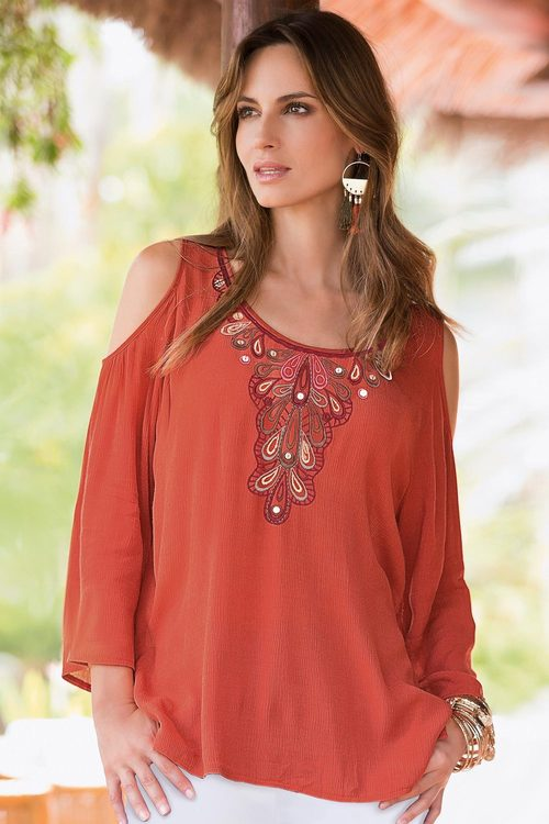 Plus Size - Together Woman Embroidered Cold Shoulder Top
