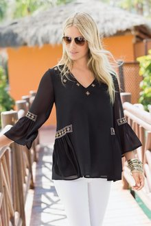 Plus Size - Together Woman Bell Sleeve Top with Embroidery