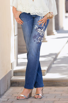 Plus Size - Together Woman Jeans with Embroidery