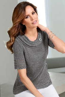 Capture European Short Sleeve Textured Pullover