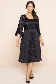 Plus Size - Sara Burnout Jacquard Dress