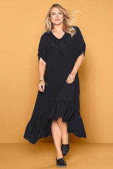Plus Size - Sara Crinkle Ruffle Hem Dress