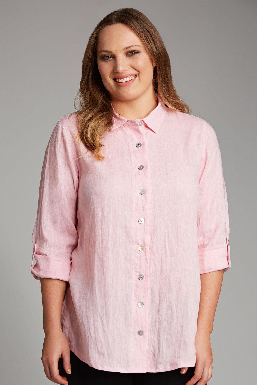 ec23ae36a72 Plus Size - Sara Longline Linen Shirt