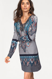 Urban Bead Detail Print Dress - 175845