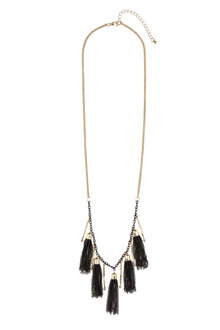 Multiple Black Tassel Necklace