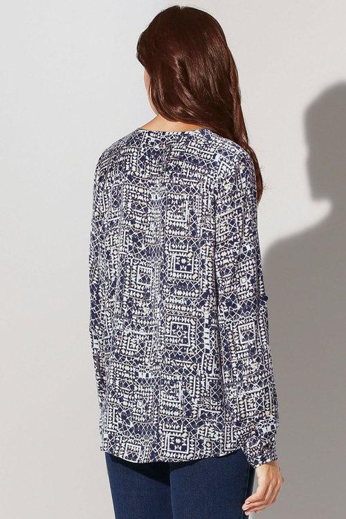 Capture European Printed Tab Sleeve Blouse
