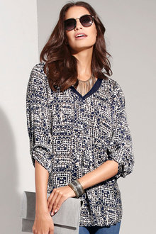 Capture European Printed Tab Sleeve Blouse
