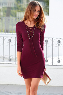 Urban Lace Up Detail Dress