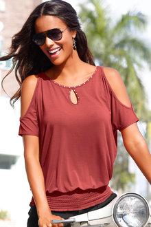 Urban Studded Cold Shoulder Top