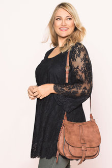 Plus Size - Sara Embroidered Bell Sleeve Tunic