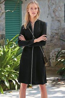 Next Black Embroidered Bomber Dress - Petite