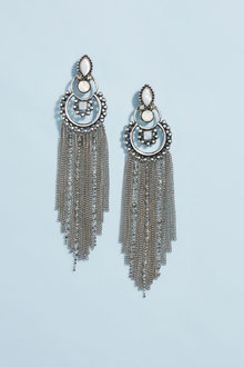 Next Silver Tone Stone Set Circle Drop Earrings
