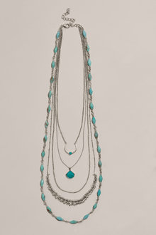 Next Silver Tone Turquoise Detail Layered Necklace